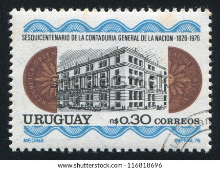 URUGUAY - CIRCA 1976: stamp printed by Uruguay, shows National General Accounting Office, circa 1976 - stock photo
