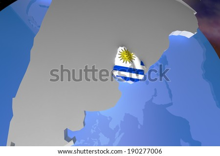 Uruguay Country Map on Continent 3D Illustration - stock photo