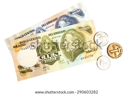 Uruguay currency and some coins . - stock photo