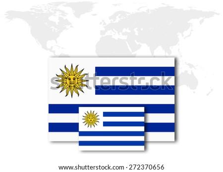 Uruguay flag and world map background - stock photo
