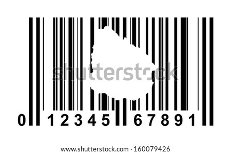 Uruguay shopping bar code isolated on white background.