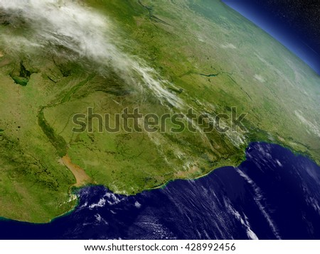 Uruguay with surrounding region as seen from Earth's orbit in space. 3D illustration with highly detailed planet surface and clouds in the atmosphere. Elements of this image furnished by NASA. - stock photo