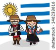 Uruguayan man and woman cartoon couple with national flag background. - stock