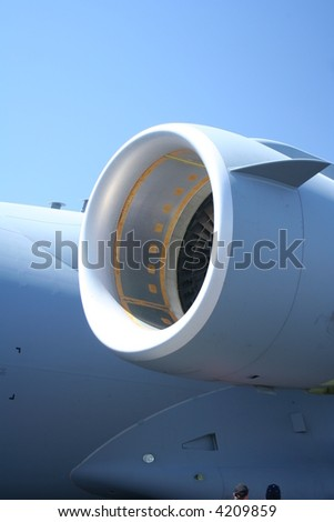 us air force cargo plane jet engine detail - stock photo