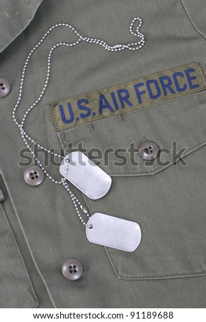 us air force iniform with blank  dog tags - stock photo