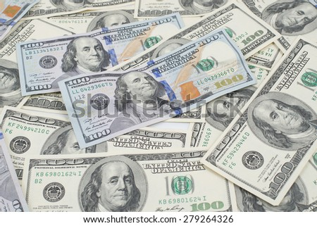 US American 100 dollars bill (one hundred dollar bill or banknote of American money) Money background US banknote many as business background for money and wealth. - stock photo