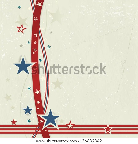 US american flag themed background, or card with wavy lines and stars in red and blue forming a patriotic border on a distressed, worn background.   - stock photo