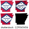 US Arkansas state flag over map collage - stock photo