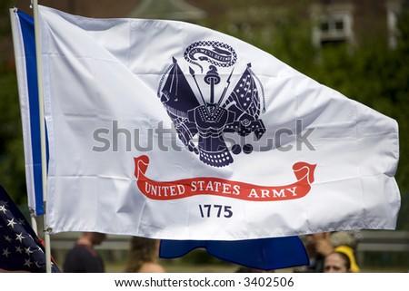 US Army Flag, Memorial Day Parade, Auburn, NY - stock photo