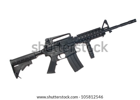 US Army M4A1 carbine isolated on a white background - stock photo