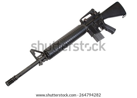 US Army M16 rifle isolated on a white background