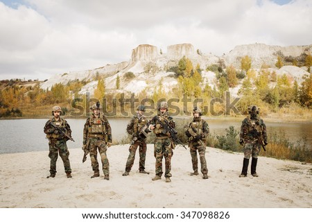 US Army rangers during the military operation - stock photo