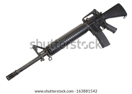 US Army service rifle M16 rifle isolated on a white background