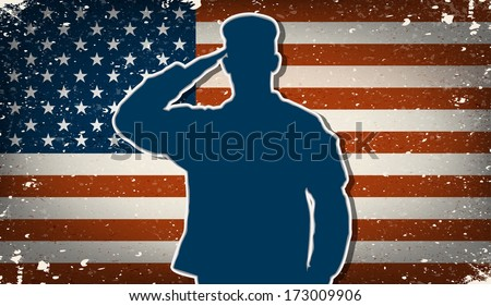 US Army soldier saluting on grunge american flag background  - stock photo