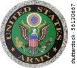 US Army symbol version 1 carved in granite - stock photo