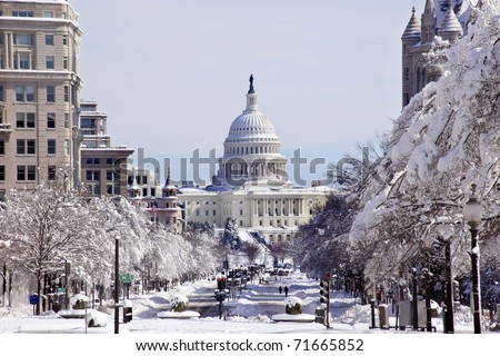 US Capital Pennsylvania Avenue After the Snow Washington DC Traffic Lights - stock photo