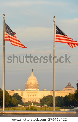 US Capitol Building as seen among the waving national flags - stock photo