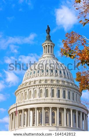 US Capitol building at autumn dawn, Washington DC - stock photo
