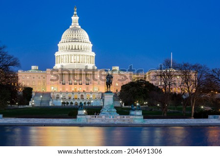 US Capitol Building at dusk, Washington DC, USA - stock photo