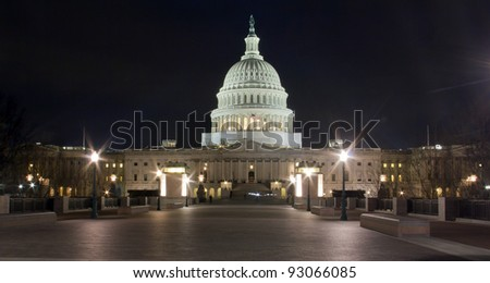 US Capitol building at night, Washington DC.  - Eastern facade