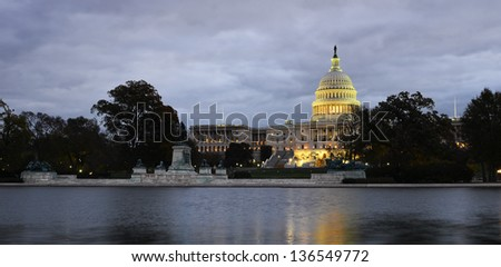 US Capitol building at night - Washington DC United States - stock photo