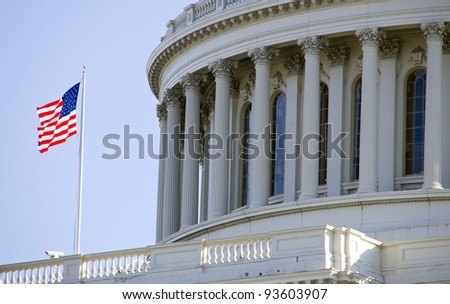 US Capitol Building, Dome Close up view, Washington DC - stock photo