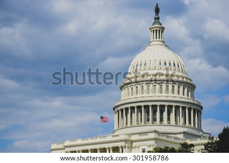 US Capitol Building dome  - Washington DC, USA - stock photo
