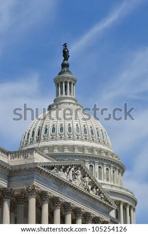 US Capitol Building east facade dome detail - Washington DC - stock photo