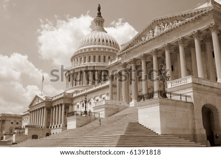 US Capitol building in sepia - stock photo