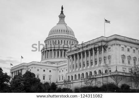 US Capitol building in Washington DC United States,  Black and White - stock photo