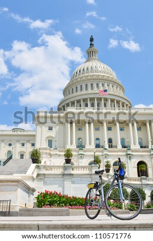 US Capitol Building in Washington DC with a tourist bike foreground - stock photo