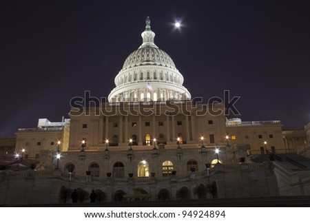 US Capitol Building with full moon - Washington DC USA