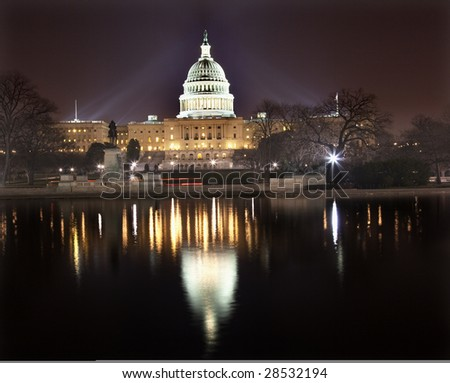 US Capitol Congress House Representatives Senate capital city Washington DC  With Reflections - stock photo
