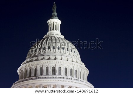 US Capitol dome detail at night, Washington DC, USA - stock photo