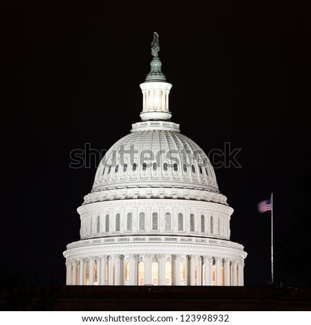 US Capitol Hill building dome detail at night - Washington DC, United States - stock photo