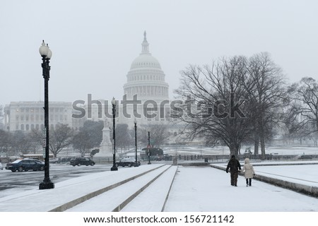 US Capitol in winter  - stock photo