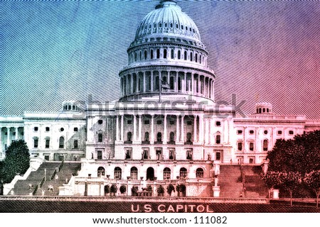 US Capitol On Fifty Dollar Bill With Color and Blur Effect - stock photo