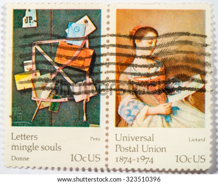 US - CIRCA 1974: A double stamps printed in US shows The Lovely Reader by Liotard and Old Scraps by Peto, ceries FAMOUS WORKS OF ART, the 100th anniversary of the Universal Postal Union. circa 1974. - stock photo