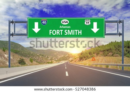 US city Fort Smith road sign on highway
