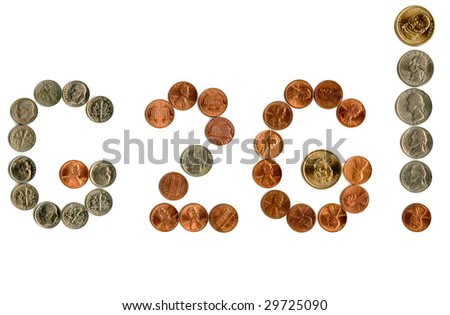 US coins inside money related exclamation. - stock photo