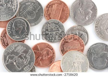 Us coins on white - stock photo