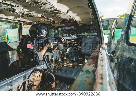 US combat  with rifle at urban area - stock photo
