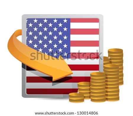 Us currency and flag illustration design over white - stock photo