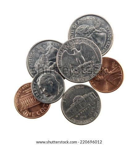 US currency coins - quarter, nickel, dime and penny - isolated on white.  - stock photo