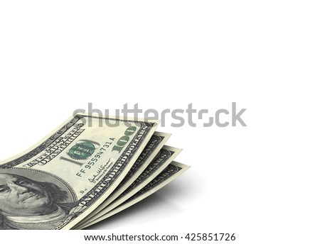 Us currency $100 from front like real on white background. 3d rendering