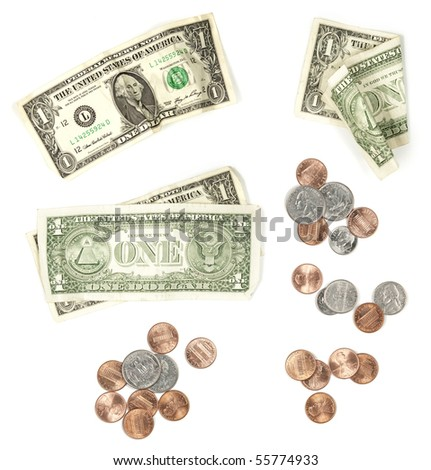 US Currency Isolated on White Background. Various groups of currency and coins for design elements. - stock photo
