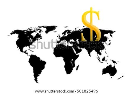 Us Dollar And Spilling Out Oil Fuel Liquid Crude As A Map Of The World As