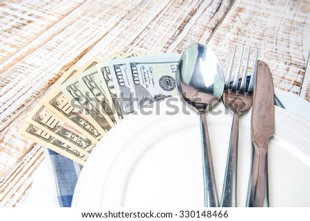 US Dollar bank note money in plate on the wooden table background