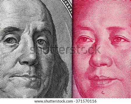 US dollar bill and China yuan banknote macro, Chinese and USA economy finance trade business, money closeup - stock photo