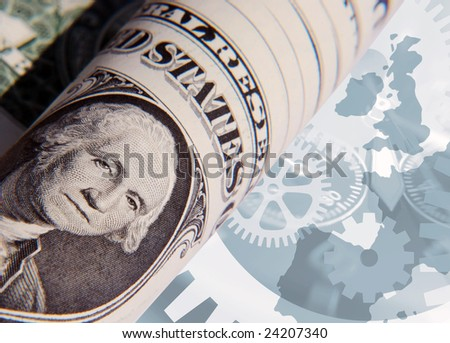 US dollar bill overlaid over Europe outling map with cogwheel pattern - stock photo